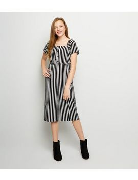 Girls Black Stripe Square Neck Jumpsuit by New Look