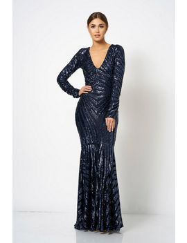 **Navy Sequin Embellished Maxi Dress By Club L London by Topshop