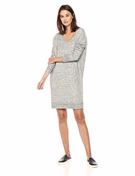 Daily Ritual Women's Terry Cotton And Modal V Neck Drop Shoulder Sweatshirt Dress by Daily Ritual