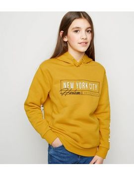 Girls Yellow New York City Harlem Slogan Hoodie by New Look