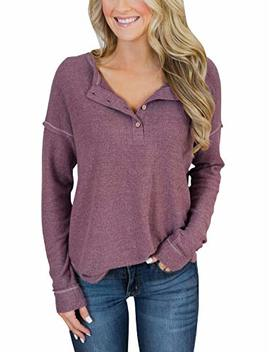 Prettoday Women's Long Sleeve Henley Tops Button Down Pullover Blouse by Prettoday