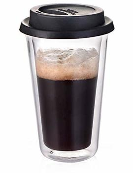 Glass Travel Coffee Mug With Lid   Double Wall Thermo Insulated Borosilicate Tumbler, For To Go Coffee Tea Hot Drinks Includes Bpa Free Silicon Travel Lid, 14 Fl.Oz by Dictea