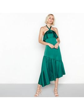 Vila   Green Satin Frill Halterneck High Low Dress by Vila