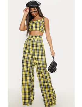 Mustard Wide Leg Check Trouser by Prettylittlething