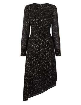 Glitter Sleeve Asymmetric Midi Dress by Oasis