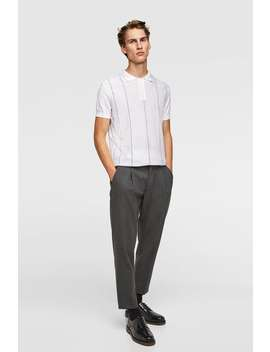Stribet Poloshirt I Jacquard  View All Sweatere Herre Udsalg by Zara