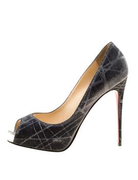 Metallic Grey Tissu Etincelle New Very Prive Peep Pumps by Christian Louboutin