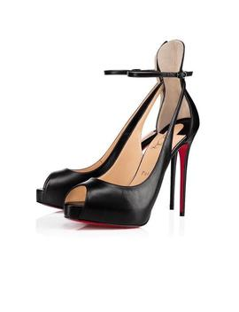 Black Mascaralta 120 Leather Platform Ankle Strap Stiletto Sandal Heel Pumps by Christian Louboutin