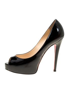 Black Patent Leather Hyper Prive Peep Toe Platform Pumps by Christian Louboutin