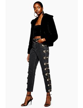 Black Side Buckle Mom Jeans by Topshop
