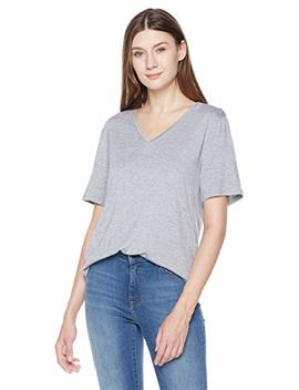 A.Dasher Women T Shirt With Wide V Neck Short Sleeve And High Low Hemline by A.Dasher