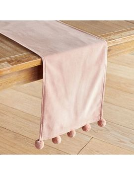 "Blush Velvet 72"" Table Runner With Poms by Pier1 Imports"