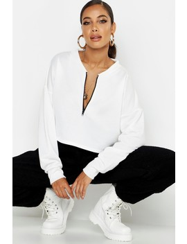 Sweat Ras De Cou à Demi Zip by Boohoo