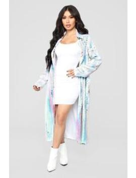 Dreaming In Color Sequin Coat   Ivory by Fashion Nova