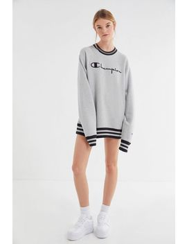 Champion Oversized Sporty Striped Crew Neck Sweatshirt by Champion