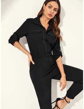 Rolled Tab Sleeve Shirt Jumpsuit by Shein