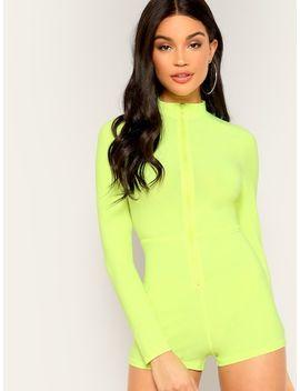 Zip Up Mock Neck Neon Yellow Jumpsuit by Shein
