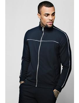 Crepe Piped Detail Smart Track Top by Boohoo