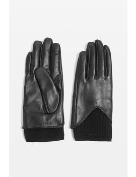 Knitted Leather Touchscreen Gloves by Topshop
