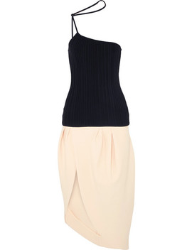 Pinhao One Shoulder Ribbed Cotton And Crepe Dress by Jacquemus