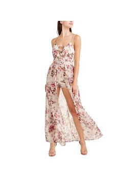 Juniors' Floral Cage Front Maxi Romper by Toxik3