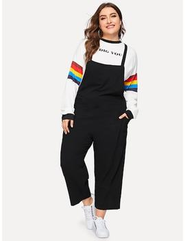 Plus Solid Pocket Side Overalls by Sheinside