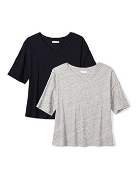 Daily Ritual Women's Washed Cotton 1/2 Sleeve V Neck T Shirt by Daily Ritual