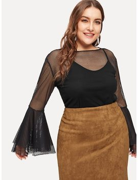 Plus Mesh Overlay Flounce Sleeve Blouse With Cami Top by Sheinside