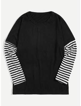 Men Contrast Striped Sleeve Tee by Sheinside