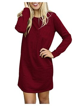 Sunnyme Women's Long Sleeve Mini Tshirt Dress Crew Neck Casual Loose Tunic Dresses For Women With Pocket by Sunnyme