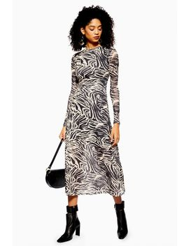 Petite Zebra Print Mesh Midi Dress by Topshop