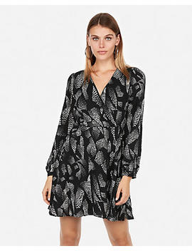 Petite Print Surplice Fit And Flare Dress by Express
