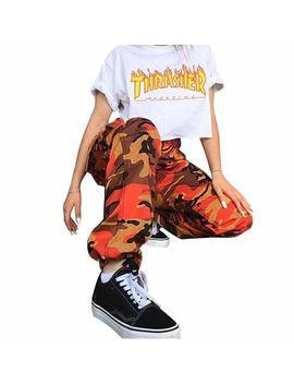 Orandesigne Donna Estate Camuffamento Pantaloni Sciolto Camouflage Stampa Sportivi Tempo Libero Jeans Hip Hip Cargo Pantaloni by Orandesigne