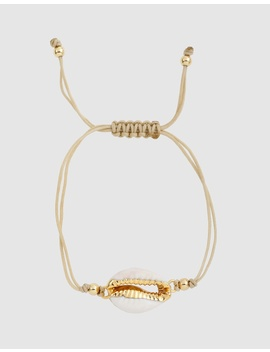 Sayulita Gold Rimmed Cowrie Shell Bracelet by Arms Of Eve