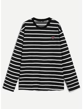 Men Embroidered Detail Striped Tee by Shein