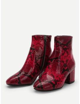 Snakeskin Pattern Block Heeled Ankle Boots by Sheinside