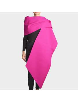 Fleece Stole In Fuchsia Wool by Marc Jacobs