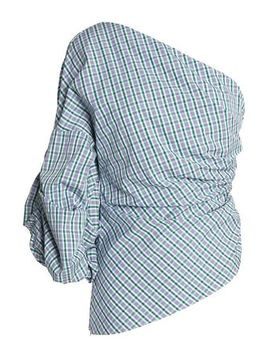 One Shoulder Ruched Checked Cotton Poplin Top by Petersyn