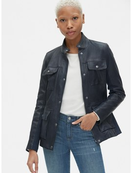 Utility Leather Jacket With Rib Knit Trim by Gap