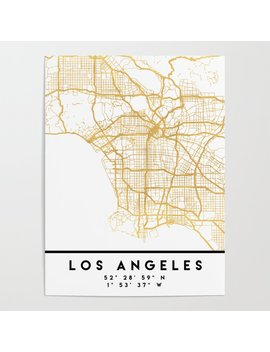 Los Angeles California City Street Map Art Poster by