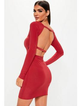 Red Long Sleeve Open Back Dress by Missguided