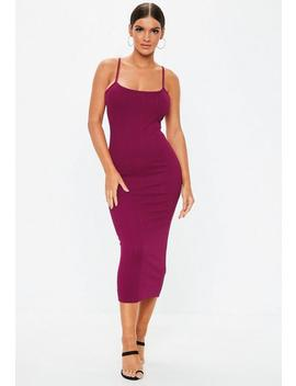 Purple Scoop Neck Strappy Bandage Midi Dress by Missguided