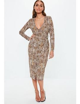 Brown Snake Print Wrap Midi Dress by Missguided