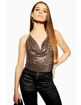 Leopard Print Chainmail Top by Topshop