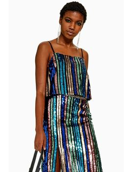 Sequin Stripe Cami by Topshop