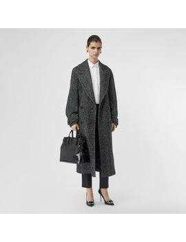 Herringbone Wool Silk Blend Double Breasted Coat by Burberry