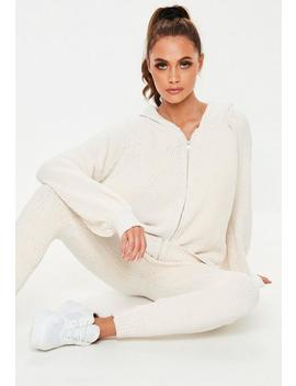 Cream Chenille Knitted Co Ord Zip Hooded Cardigan by Missguided