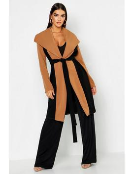 Oversized Collar Contrast Duster by Boohoo