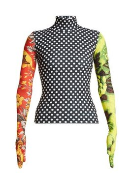 Floral Print High Neck Stretch Jersey Top by Richard Quinn