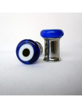 Pair Of Blue Glass Evil Eye Bead Plugs   Girly Gauges   8g, 6g, 4g, 2g, 0g, 00g, Post Earrings (3mm, 4mm, 5mm, 6mm, 8mm, 10mm) by Etsy